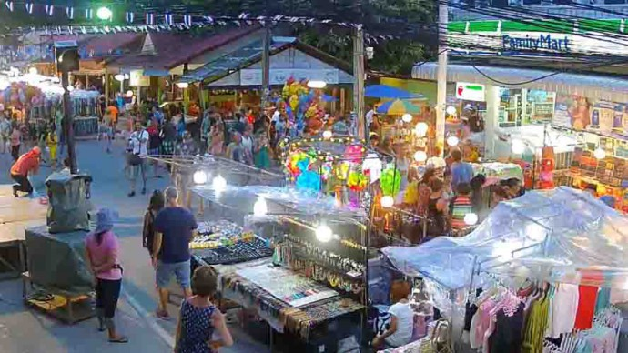 Thailand, Koh Samui, Lamai Walking Street. Webcam online.