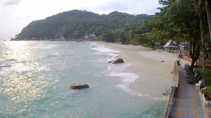 Thailand, Koh Samui's Best Beach, Crystal Bay Beach Resort. Webcam online.