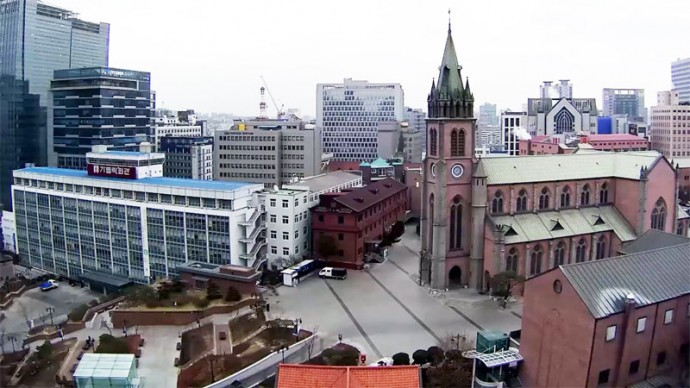 South Korea, Seoul, Myeongdong Cathedral. Live cam streaming.