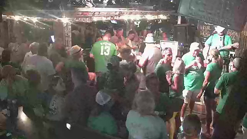 St. Patrick's Day. Webcam online. Bar Hog's Breath Saloon. USA, Florida, Key West.
