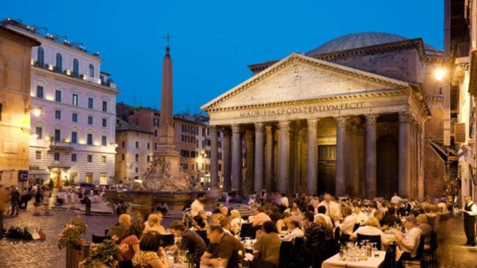Italy, Rome, Piazza della Rotonda. Fountain of the Pantheon with the Egyptian obelisk. Live cam.